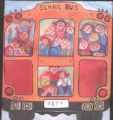 Wheels on the Bus quilt block